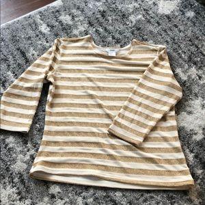 Cream and gold striped Fiore top